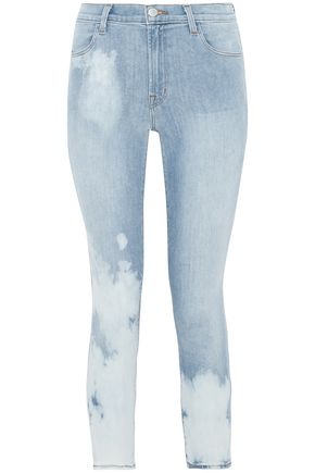 J BRAND Cropped faded mid-rise skinny jeans