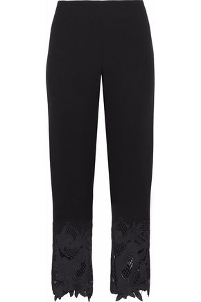 LELA ROSE Guipure lace-trimmed wool-blend crepe straight-leg pants