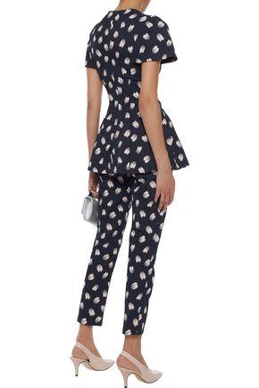 LELA ROSE Catherine cotton-blend floral-jacqaurd slim-leg pants