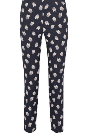 LELA ROSE Catherine cotton-blend floral-jacqaurd slim-leg pants