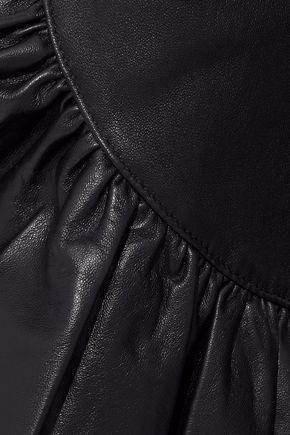 CINQ À SEPT Gionata cropped ruffle-trimmed leather slim-leg pants