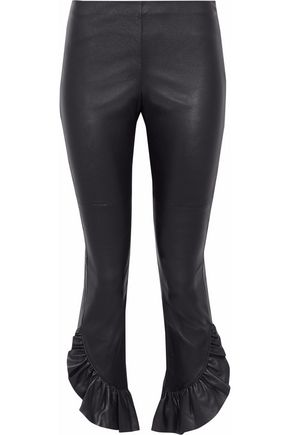 CINQ À SEPT Gionata cropped ruffle-trimmed leather slim-leg pants