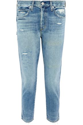AMO Distressed high-rise slim-leg jeans