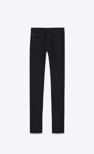 SAINT LAURENT Skinny fit Homme jean skinny taille basse en denim stretch noir a_V4