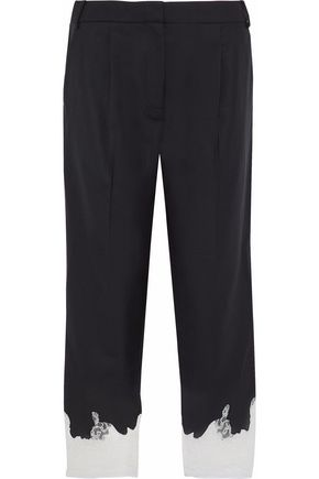 TIBI Lou Lou cropped lace-trimmed twill straight-leg pants