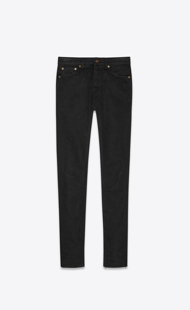 jean skinny à taille mi-haute en denim stretch noir