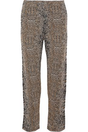 GIORGIO ARMANI Cropped metallic bouclé-knit straight-leg pants
