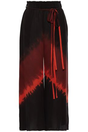 RAQUEL ALLEGRA Tie-dyed silk-voile wide-leg pants