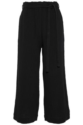RAQUEL ALLEGRA Crinkled cotton-gauze wide-leg pants