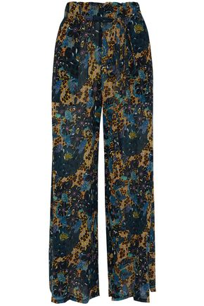 RAQUEL ALLEGRA Printed silk-georgette wide-leg pants