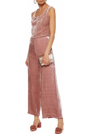 STAUD Margaux velvet wide-leg pants