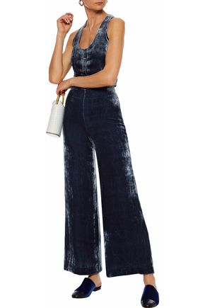 STAUD Margaux velvet wide-leg pants