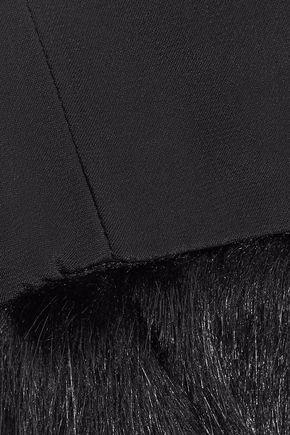STAUD Sylvie faux fur-trimmed crepe de chine culottes