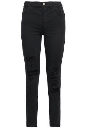 J BRAND Distressed high-rise skinny jeans