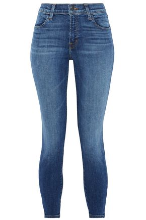 J BRAND Alana cropped faded high-rise skinny jeans