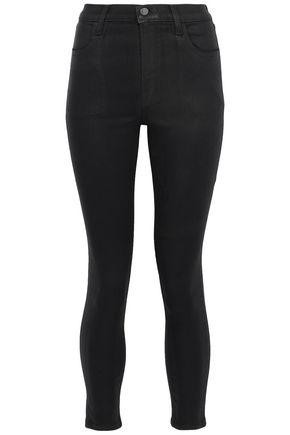 J BRAND Coated high-rise skinny jeans