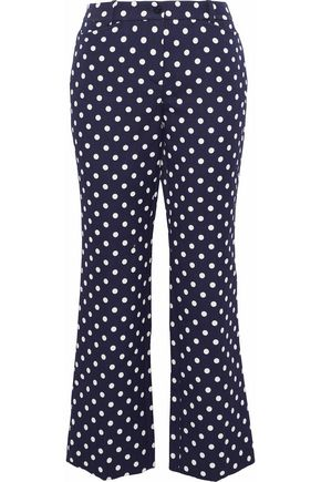 MICHAEL KORS COLLECTION Cropped polka-dot cotton and silk-blend straight-leg pants