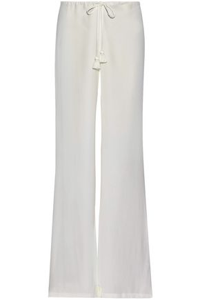FIGUE Tasseled crepe de chine wide-leg pants