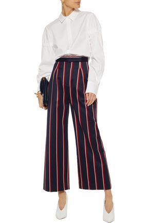 SOLACE LONDON Delphine striped wool and cotton-blend wide-leg pants