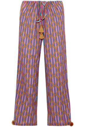 FIGUE Tasseled printed cotton-blend gauze wide-leg pants
