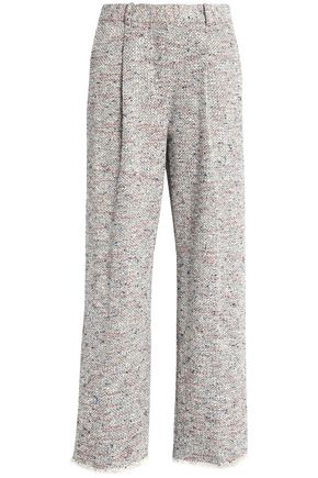 THEORY Frayed cotton-blend bouclé-tweed wide-leg pants