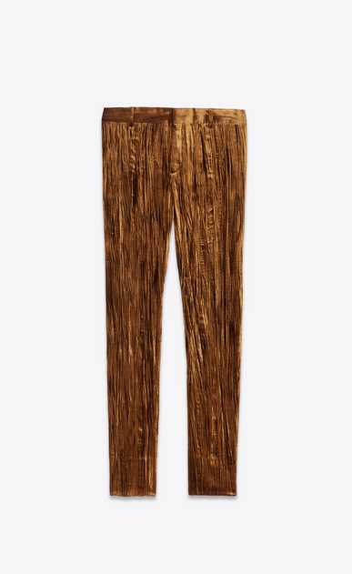 SAINT LAURENT Classic Pant Woman Pants in bronze crinkled velvet a_V4