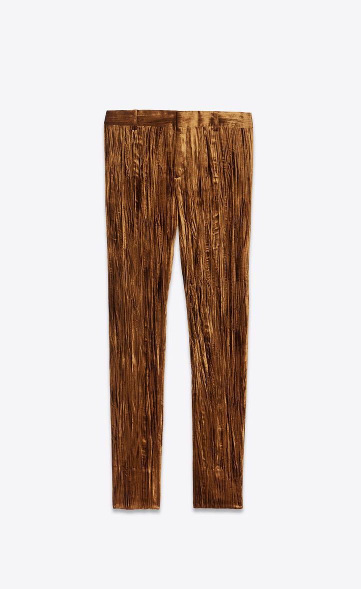 Pantalon en velours froissé mordoré