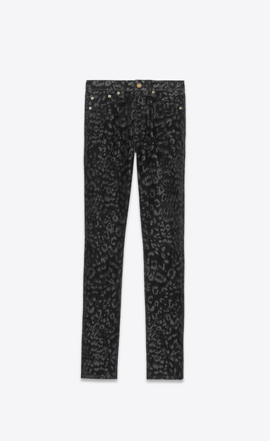 SAINT LAURENT Skinny fit Donna Jeans skinny vita media in velluto nero leopardato a_V4