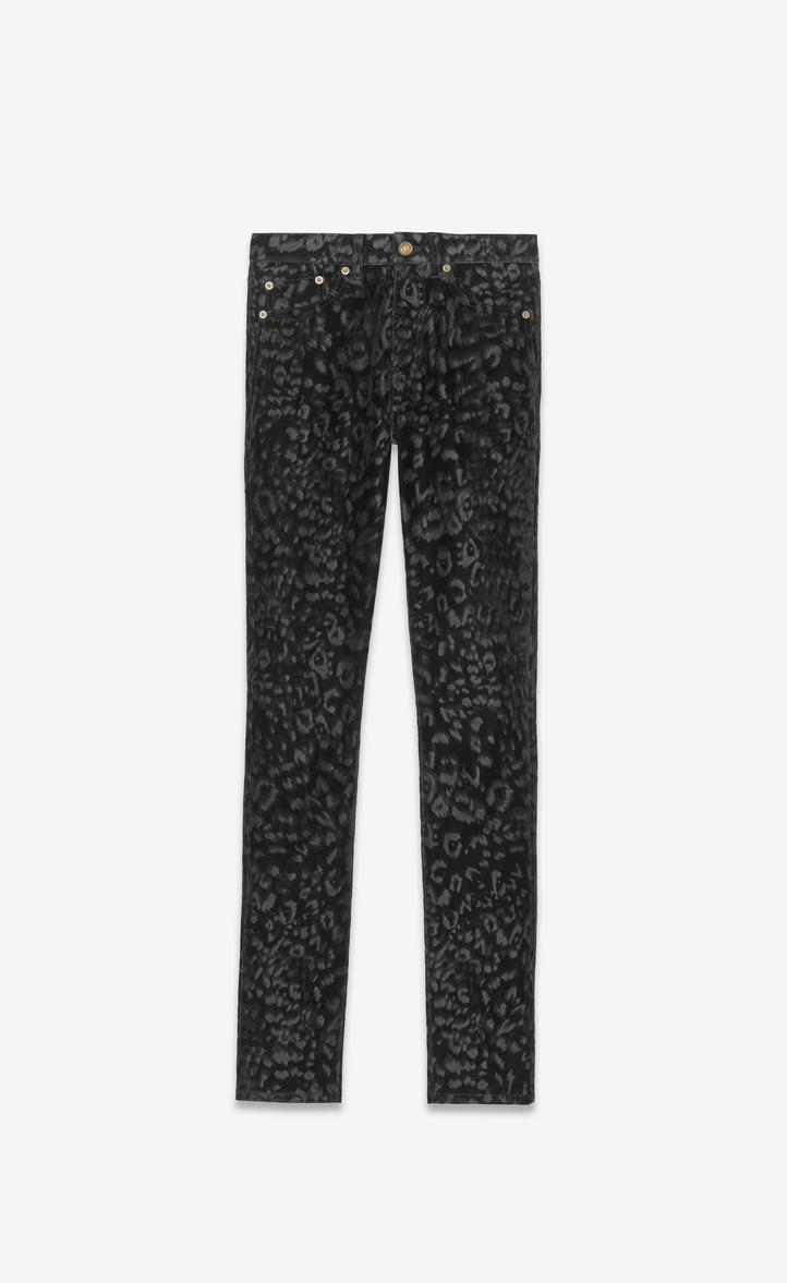 Jean skinny à taille mi-haute en velours léopard noir
