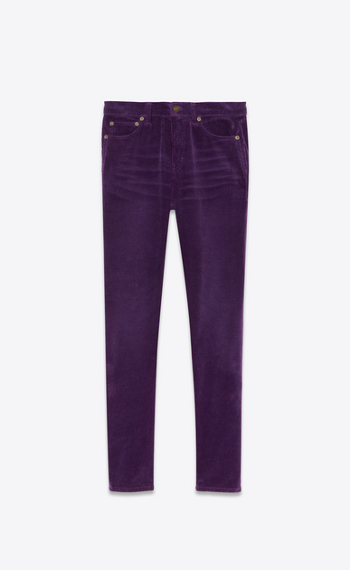 SAINT LAURENT Slim fit Donna Pantaloni slim in velluto a coste viola a_V4