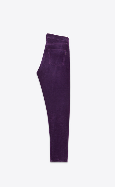 SAINT LAURENT Slim fit Donna Pantaloni slim in velluto a coste viola b_V4
