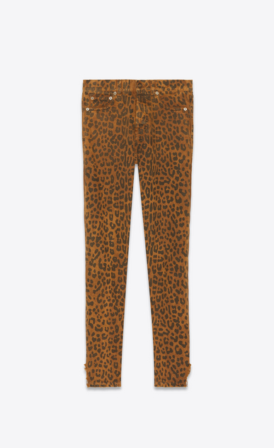 SAINT LAURENT Slim fit Damen Slim Jeans aus karamellfarbenem Denim mit Leopardenprint. a_V4