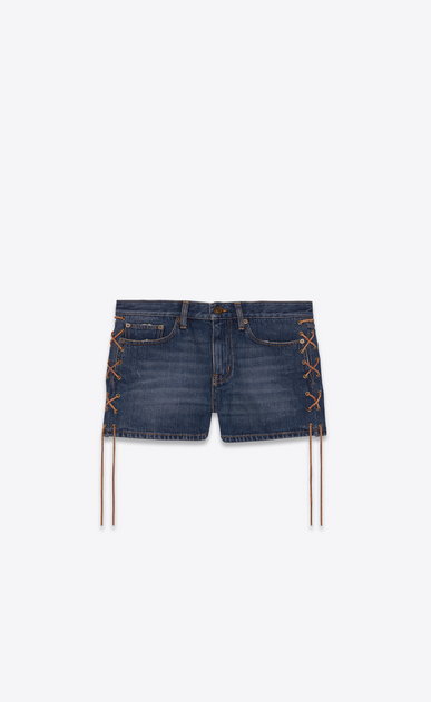 SAINT LAURENT Short Pants Woman Side-laced shorts in blue denim a_V4