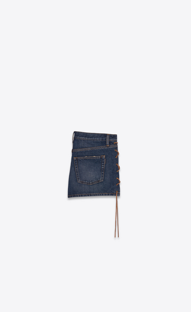 SAINT LAURENT Short Pants Woman Side-laced shorts in blue denim b_V4