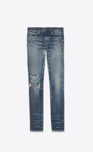 SAINT LAURENT Skinny fit Woman Mid-rise skinny jeans in faded and torn blue denim a_V4