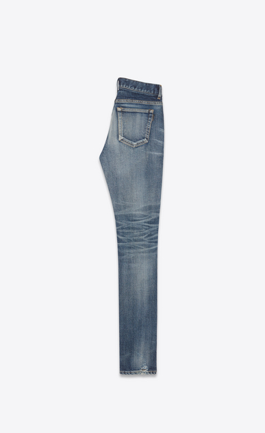 SAINT LAURENT Skinny fit Woman Mid-rise skinny jeans in faded and torn blue denim b_V4