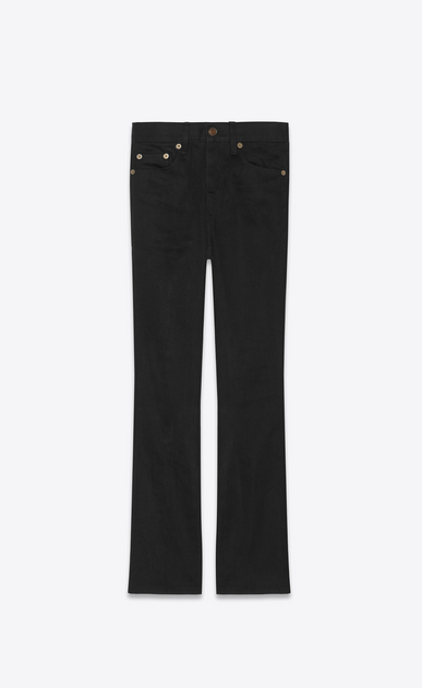 SAINT LAURENT Denim Trousers Woman Cropped bootcut jeans in black denim a_V4