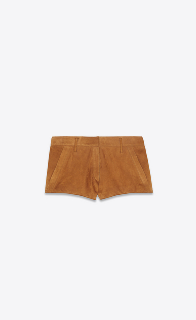 SAINT LAURENT Pantaloncini Donna Mini-short in scamosciato color bourbon a_V4