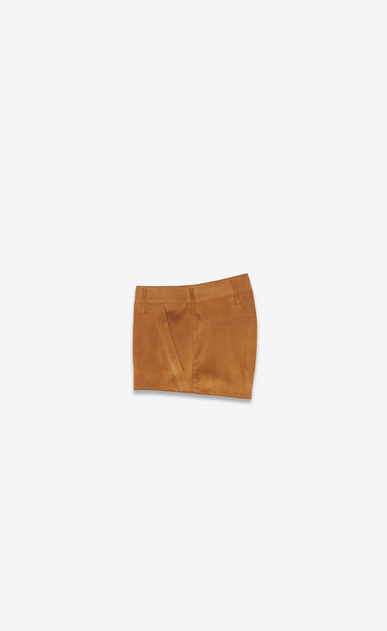 SAINT LAURENT Pantaloncini Donna Mini-short in scamosciato color bourbon b_V4