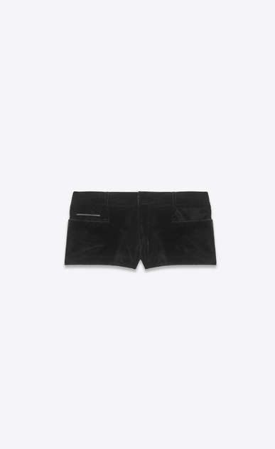 SAINT LAURENT Short Trousers Woman Shorts in black velvet a_V4