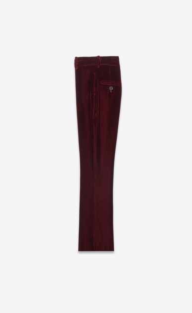 SAINT LAURENT Classic Pant Woman Cropped flared pants in burgundy velvet b_V4