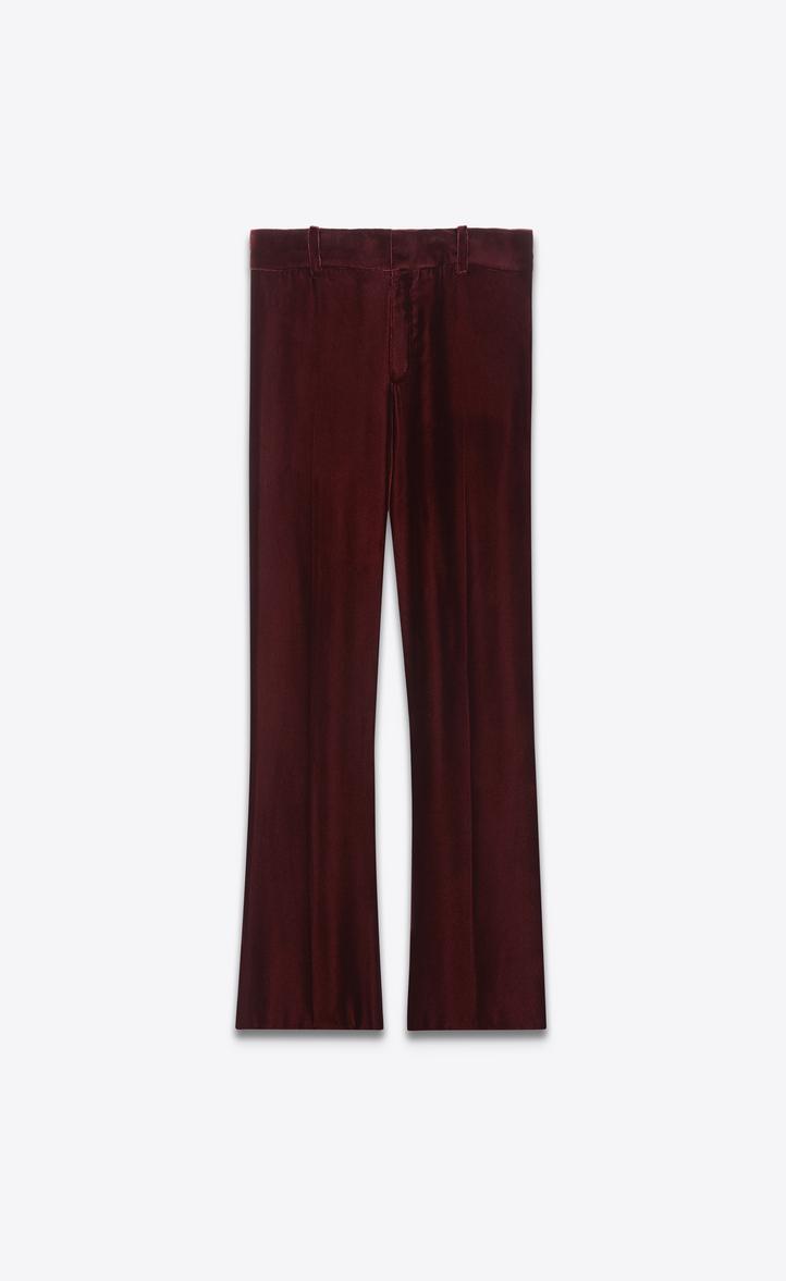 Pantalon cropped évasé en velours bordeaux