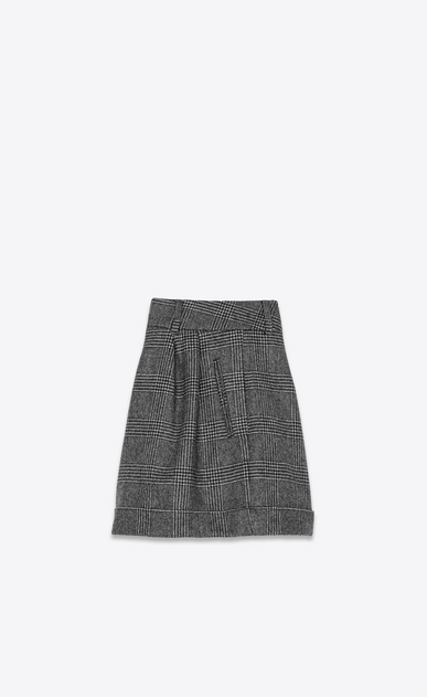 SAINT LAURENT Short Pants Woman Shorts in black and gray glen plaid b_V4