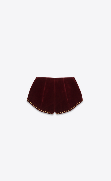 SAINT LAURENT Short Trousers Woman Shorts with studs in burgundy velvet b_V4