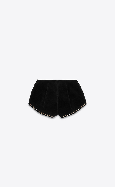 SAINT LAURENT Pantaloncini Donna Mini short in velluto nero a coste e Ayers, con borchie b_V4
