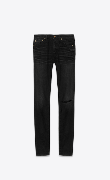SAINT LAURENT Skinny fit Woman Mid-rise skinny jeans in torn blue denim a_V4