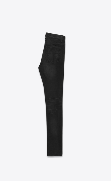 SAINT LAURENT Skinny fit Woman Mid-rise skinny jeans in torn blue denim b_V4