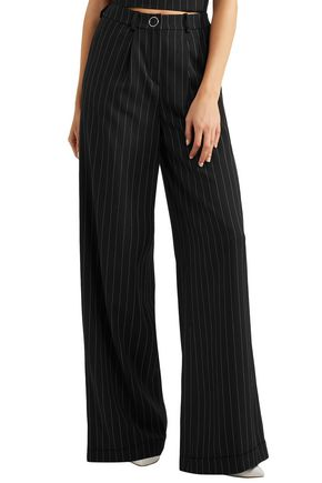 MUGLER Striped wool-blend wide-leg pants