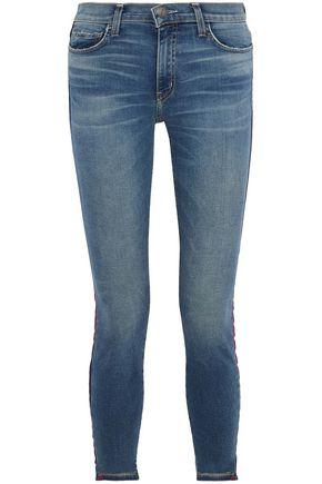 CURRENT/ELLIOTT The High Waist Stiletto grosgrain-trimmed high-rise skinny jeans