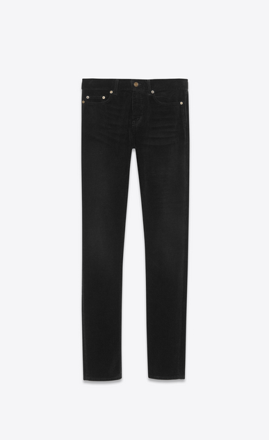 SAINT LAURENT Skinny fit Man Low-rise skinny jeans in black corduroy a_V4